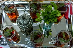 Beautiful Moroccan tea with mint and sugar royalty free stock photography