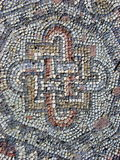 Beautiful Mosaic. Mosaic outside a medieval church in Paphos, Cyprus stock image