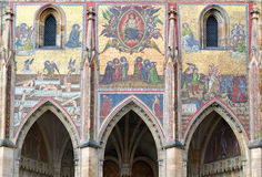 Beautiful mosaic depicting Last Judgment above the Golden Gate in St. Vitus cathedral Stock Photo