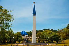 Beautiful mosque with a blue dome and a minaret, city Bintulu, Borneo, Sarawak, Malaysia. Beautiful mosque with a blue dome and a minaret city Bintulu, Borneo stock photography