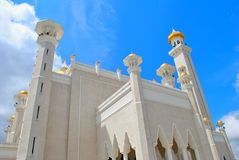 Beautiful Mosque with blue sky. Beautiful mosque in Asian is name `Omar Ali Saifuddien` mosque in Bandar Seri Begawan, Brunei Darussalam Stock Photos