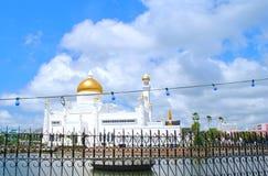 Beautiful Mosque with blue sky. Beautiful mosque in Asian is name `Omar Ali Saifuddien` mosque in Bandar Seri Begawan, Brunei Darussalam Royalty Free Stock Photos