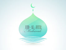 Beautiful mosque for Eid-Al-Fitr celebration. Beautiful mosque with stylish wishing text Eid-Al-Fitr Mubarak, Elegant greeting card design for Muslim community Royalty Free Stock Photos