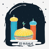 Beautiful mosque for Eid festival celebration. Royalty Free Stock Images