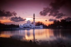 Beautiful Mosque in Glorious Sunset Stock Photos