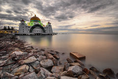 A beautiful mosque at the Malacca straits Stock Photo