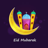 Beautiful mosque with moon for Eid festival celebration. Stock Image