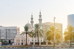 Beautiful Mosque with Ornate Minarets and Domes Stock Photo