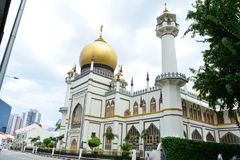 Facade of the Sultan Mosque, in Singapore. The beautiful Mosque of Sultan, in the centre of Singapore royalty free stock photography