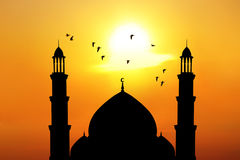Beautiful mosque at sunset Royalty Free Stock Image