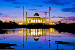 Beautiful mosques and reflection in Songkhla province, Thailand Royalty Free Stock Images
