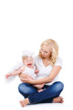 Beautiful mother with the angelic child. Royalty Free Stock Photo