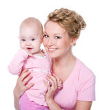 Beautiful mother with attractive smile baby Stock Image