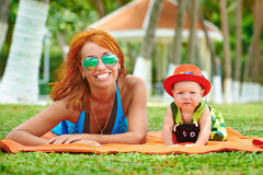Beautiful Mother And Baby outdoors. Royalty Free Stock Photo