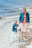 Beautiful mother and child with dog on walk near the sea stock photos