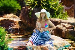 Beautiful mother and child in the open air. Nature. Outdoor port Royalty Free Stock Photos
