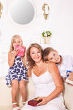 Beautiful mother and children stock image