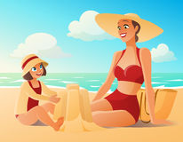 Beautiful mother and cute young daughter on the beach.. Cartoon vector illustration Stock Images