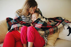 Beautiful mother and daughter at home Royalty Free Stock Photo