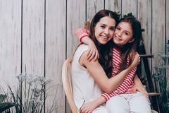 Beautiful mother and daughter hugging. Together at home,Family concept Stock Images