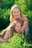 Beautiful mother and daughter outdoor Stock Images