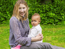 Beautiful mother and daughter portrait. Outdoors Royalty Free Stock Images