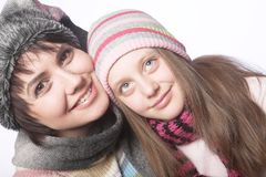 Beautiful mother daughter winter portrait Stock Image