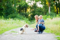 Mom and little daughter with fox terrier dog Royalty Free Stock Image