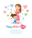 Beautiful mother with her daughter. Card of Happy Mothers Day. Vector illustration with beautiful women and child, happy mothers d vector illustration