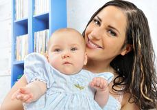 Beautiful mother with her newborn baby. Royalty Free Stock Photos