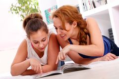 Mother with her daughter have fun at home Royalty Free Stock Photography