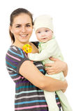 Beautiful mother holding the hands of his baby Royalty Free Stock Image