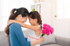 Beautiful mother hug with cute little daughter Stock Photography
