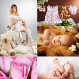 Beautiful mother with a newborn Stock Photos