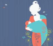 Beautiful mother silhouette. With baby in a sling and floral background Stock Photography