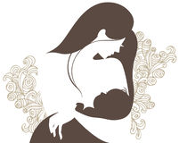 Beautiful mother silhouette with baby Stock Photo