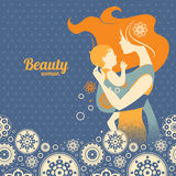 Beautiful mother silhouette with baby in a sling. And floral background Stock Images