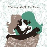 Beautiful mother silhouette with h. Card of Happy Mother's Day. Beautiful mother silhouette with her daughter Royalty Free Stock Photography
