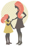 Beautiful mother silhouette with her daughter Royalty Free Stock Image