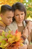 Mother with son in autumn park Royalty Free Stock Images