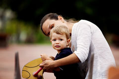 Beautiful mother and son playing Stock Photo