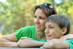Beautiful mother with son Stock Photo