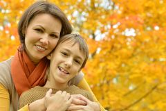 Beautiful mother with a son Stock Images