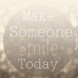 Beautiful Motivational quote with message Make Someone Smile To royalty free stock image