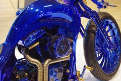 Motorbike Harley Davidson, Blue Edition. Beautiful motorbike Harley Davidson, very rare Blue Edition stock photos