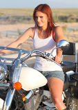 Beautiful Motorcycle Rider Royalty Free Stock Photos