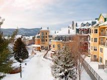 Beautiful Mount-Tremblant ski resort village. In winter Royalty Free Stock Photo