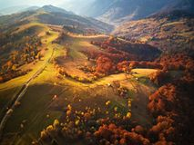 Beautiful mountain autumn landscape with meadow and colorful for royalty free stock photo