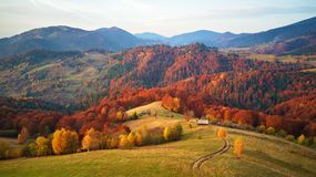 Beautiful mountain autumn landscape with meadow and colorful for stock photo
