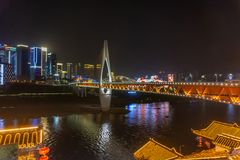 Beautiful mountain city in Chongqing. Government, lights. Stock Photos